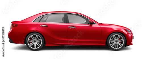 Zdjęcie XXL Czerwony samochód wykonawczy na białym - kąt boczny