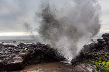 Ocean Wave Splashes Against Rocks Yachats Oregon Coast