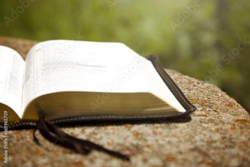 Zdjęcie XXL Otwarta Biblia na stole w zielonym ogrodzie