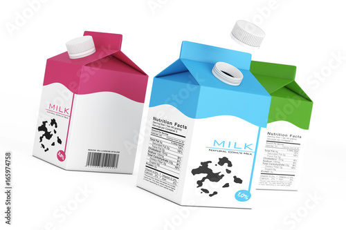 Milk Carton Boxes. 3d Rendering