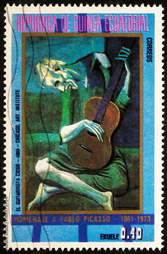 painting-the-old-guitarist-by-picasso-on-postage-stamp