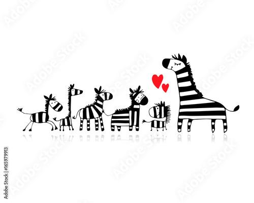 Fototapeta Zebra family, mother and children, sketch for your design obraz