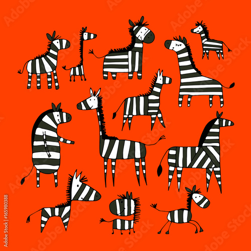 zebra-family-sketch-for-your-design
