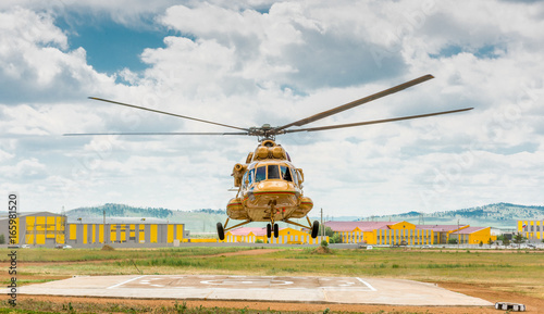 MI-8 helicopter landing Wallpaper Mural