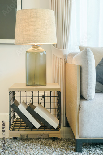 Miraculous Table Lamp On Wooden Side Table Next To Sofa In Modern Style Uwap Interior Chair Design Uwaporg