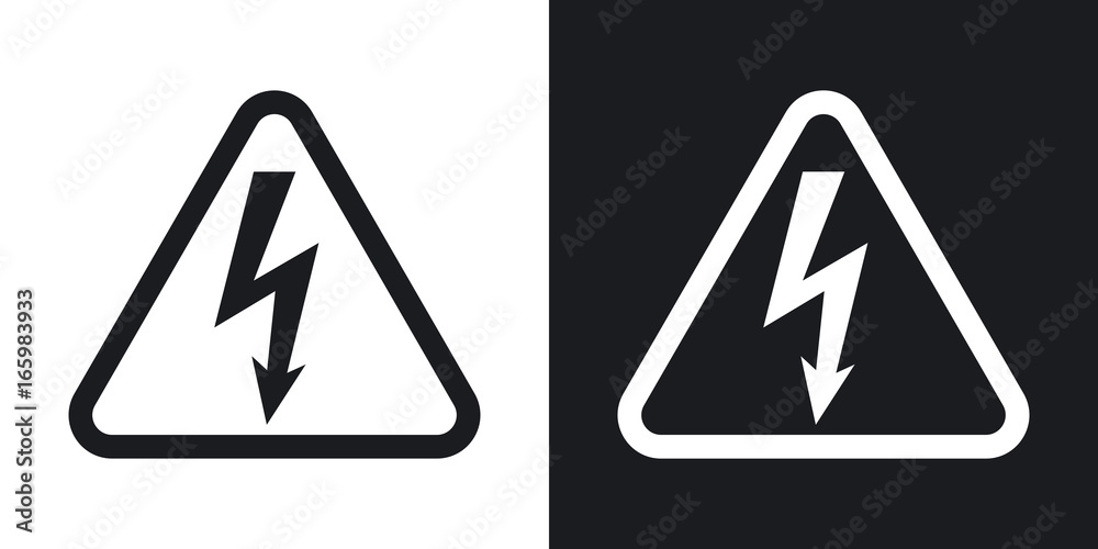 Fototapeta Vector high voltage sign. Two-tone version on black and white background