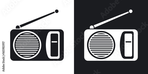Fotomural Vector radio icon. Two-tone version on black and white background