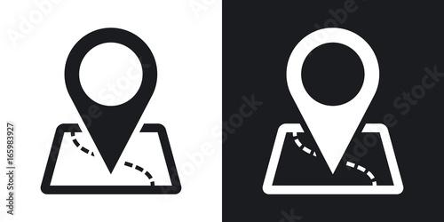 Mapa wektorowa z ikoną wskaźnika. Wersja dwukolorowa na czarno-białym tle