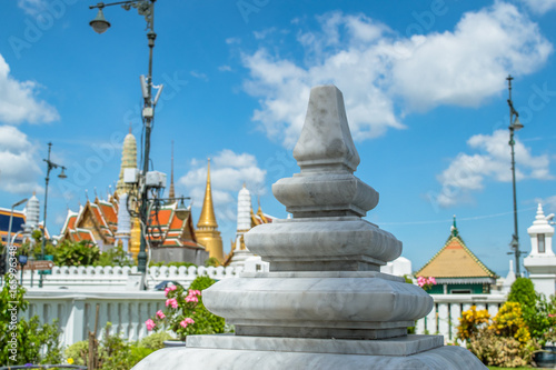 Marble pillar with blur Emerald Buddha Temple background - Buy this
