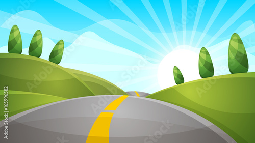 Fotobehang Lichtblauw Cartoon landscape illustration. Sun. road, cloud hill Vector eps 10