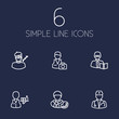 Set Of 6 Job Outline Icons Set.Collection Of Artist, Servant, Designer And Other Elements.