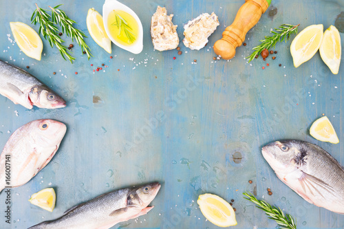 fresh sea fish preparation - frame of raw fish, oyster shells and spices on blue wooden background with copy space