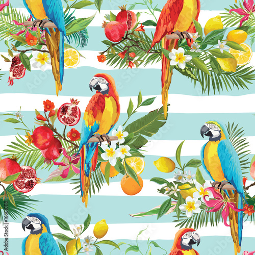 Fotobehang Papegaai Tropical Fruits, Flowers and Parrot Birds Seamless Background. Retro Summer Pattern in Vector