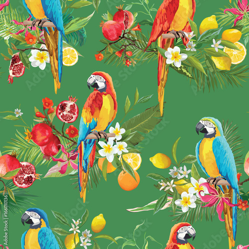 Deurstickers Papegaai Tropical Fruits, Flowers and Parrot Birds Seamless Background. Retro Summer Pattern in Vector