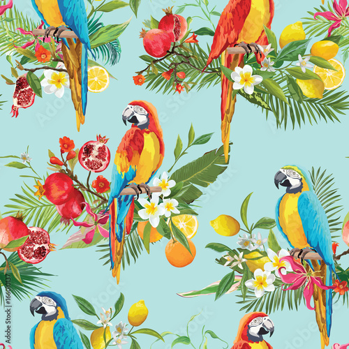 Poster Parrot Tropical Fruits, Flowers and Parrot Birds Seamless Background. Retro Summer Pattern in Vector