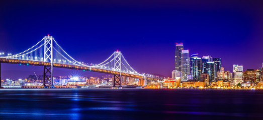 Naklejka oakland bay bridge views near san francisco california in the evening