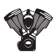 Motorcycle Engine Emblem In Monochrome Silhouette Style