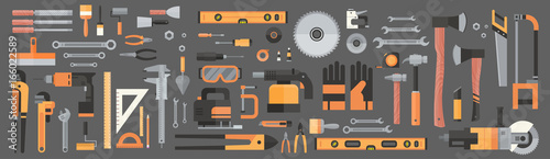 Obraz Set Of Repair And Construction Working Hand Tools, Equipment Collection Flat Vector Illustration - fototapety do salonu