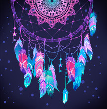 Hand Drawn Native American Indian Talisman Dreamcatcher With Feathers And Moon. Vector Hipster Illustration Isolated On White. Ethnic Design, Boho Chic, Tribal Symbol.