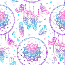 Hand Drawn Native American Indian Talisman Dreamcatcher With Feathers And Moon. Seamless Pattern. Vector Hipster Illustration. Ethnic Design, Boho Chic, Tribal Symbol.