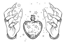 Vintage Astronomy: Human Hands With Heat-shaped Bottle Or  Jar With Stars Inside. Dotwork Ink Tattoo Flash Design. Vector Illustration Isolated On White.