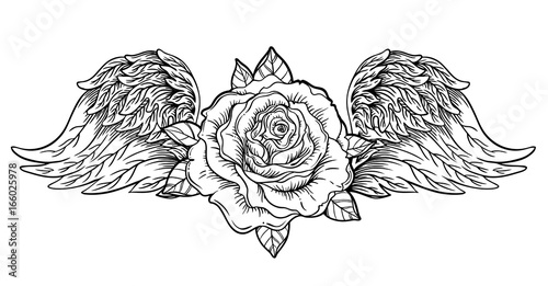 Rose Flower With Angel Or Bird Wings Blackwork Tattoo Flash
