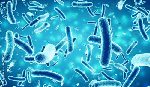 bacteria in a blue background Canvas Print