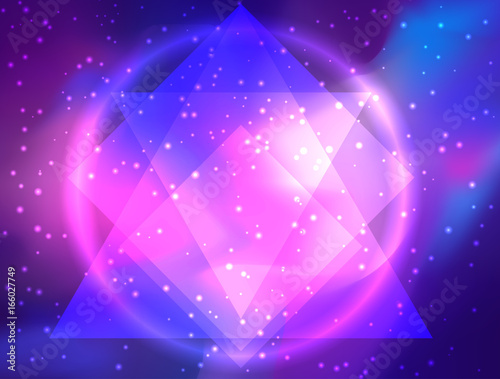 Moja galaktyka. Wektorowa jaskrawa kolorowa kosmos ilustracja z świętą geometrią. Abstrakcjonistyczny kosmiczny tło z gwiazdami. Astronomia, astrologia, alchemia, boho i magiczna tekstura.