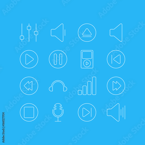 Vector Illustration Of 16 Melody Icons  Editable Pack Of Reversing