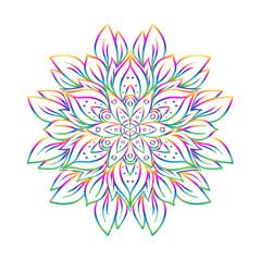 Panel Szklany Boho Vector ornamental mandala inspired ethnic art, patterned Indian paisley. Hand drawn illustration. Invitation element.