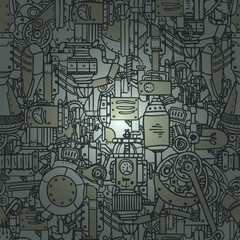 Steampunk seamless vector pattern