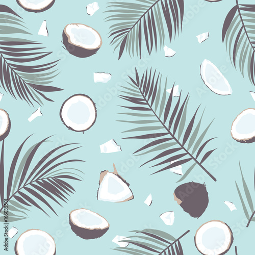 Canvas Seamless pattern with coconut and palm leaves
