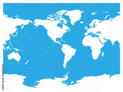 Australia and pacific ocean centered world map high detail white australia and pacific ocean centered world map high detail white silhouette on blue background gumiabroncs Gallery