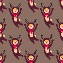 Cute Deer Kids Wearing Christm...