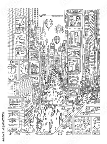 Tuinposter Art Studio View of times square in New York