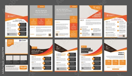 Canvas Print a bundle of 10 templates of a4 flyer template, modern template, in orange and ye