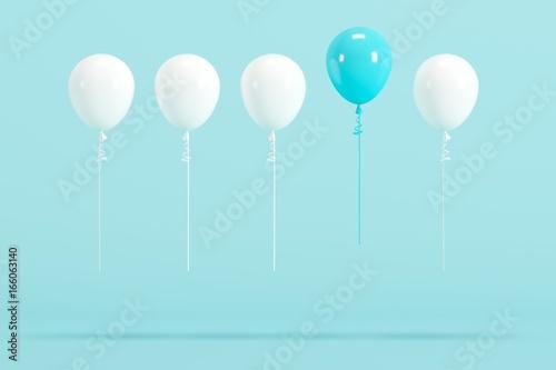 Pinturas sobre lienzo  outstanding blue balloon among white balloon concept on blue background for copy space