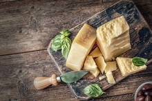 Parmesan Cheese On Wooden Boar...