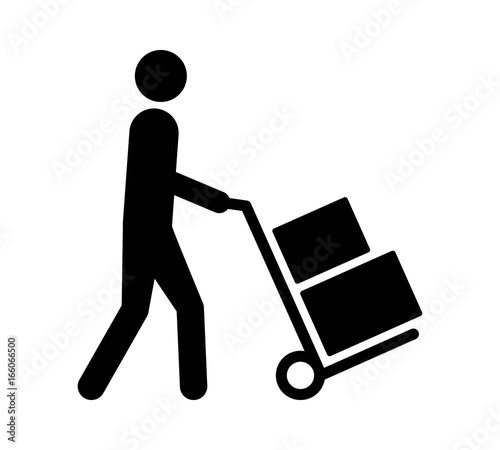 Mover pushing moving hand truck or dolly with boxes flat vector icon for apps an Canvas Print