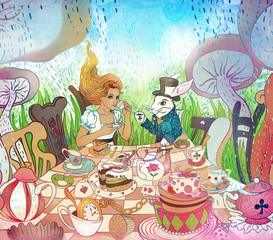Fototapeta Mad Tea Party. Alice's Adventures in Wonderland illustration. Girl, white rabbit drink from cups under giant mushrooms. Design for Wonderland invitation, postcard, poster, fairy tale
