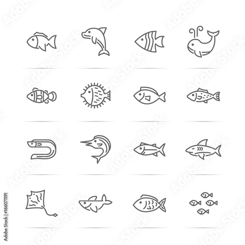 fish vector line icons Wall mural