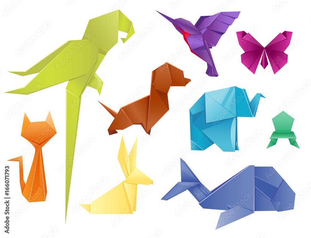 Fototapeta Animals origami set japanese folded modern wildlife hobby symbol creative decoration vector illustration.
