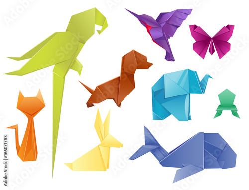 Animals origami set japanese folded modern wildlife hobby symbol creative decoration vector illustration Canvas Print