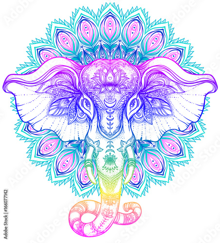 Foto auf AluDibond Boho-Stil Beautiful hand-drawn tribal style elephant over mandala. Colorful design with boho pattern, psychedelic ornaments. Ethnic poster, spiritual art, yoga. Indian god Ganesha, Indian symbol.