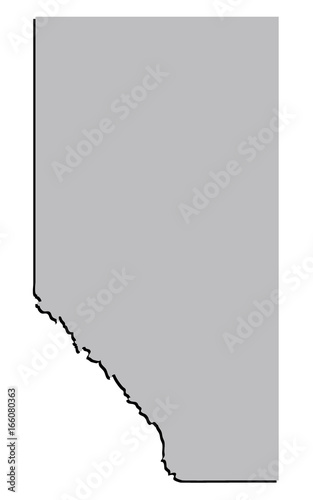 3D Stylised Vector Alberta, Canada Territory Map Grey – kaufen Sie ...