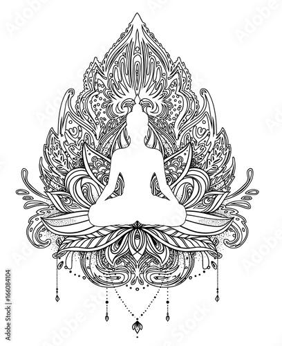 Vector ornamental lotus flower with silhouette of buddha ethnic art vector ornamental lotus flower with silhouette of buddha ethnic art indian paisley hand mightylinksfo