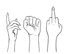 Human Palm Raised Up. Set Of Hands In Different Gestures. Vector Illustration Isolated On White.