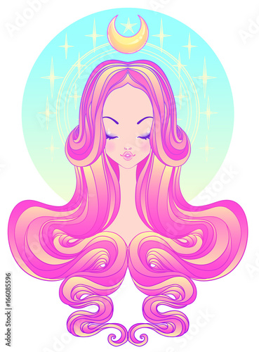 Photo  Cute teen girl with closed eyes and long hair