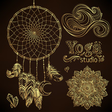 Boho Chic Dreamcatcher Illustration Set. Hindu Paisley Motifs. Gold Spirituality, Prints, Ornamental Floral Elements With Henna Design, Golden Stickers, Flash Temporary Tattoo.