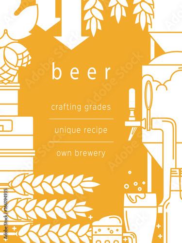 ikony-zwiazane-z-produkcja-piwa-na-zoltym-tle